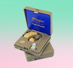 Whisper Rechargeable BTE Hearing Amplifier, in set of two units